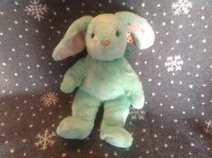 TY Beanie Buddie Hippity Mint Green Bunny Rabbit Soft Plush Toy 1996 Retired