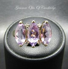 9K Gold 9ct Gold Amethyst and Diamond Ring Size K 2.35g