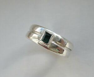 Alter Silberring mit grünem Farbstein 925 Silber