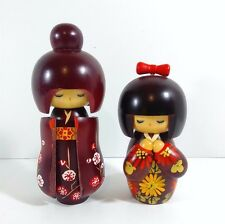 Japanese GEISHA Kokeshi dolls figure hand painted wood set of two.
