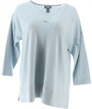 Martha Stewart V-Neck 3/4-Sleeve Sweater Ribbeds Hydrangea Blue L # A366943