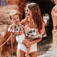Family Matching Swimwear Mother Daughter Women Kids Baby Girls Swimsuit Bikini