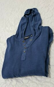 Industrie Navy Blue Hooded 100% Cotton Knitted Long Sleeve T Shirt Hoodie Top