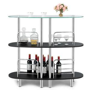 Bar Table Wine Storage Home Liquor Pub Table w/Tempered Glass Top & 2 Shelves