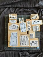 RARE! EUC Teesha Moore Zettiology Wood Mounted Rubber Stamp Lot of 14 Stamps Odd