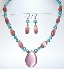 "GN137A Rose Cat's Eye Glass & Freshwater Pearl w Silver 19"" Necklace Earring Set"