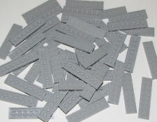Lego Lot of 50 New Light Bluish Gray Plates 2 x 8 Dot Pieces
