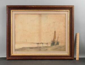 19thC Antique ADDISON T MILLAR French Maritime Clamming Watercolor Painting NR