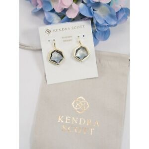 Kendra Scott Vanessa Grey Ombre Glass Gold Plated Earrings NWT