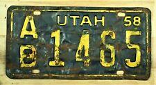 1958 UTAH AB 14S5 LICENSE PLATE AUTO CAR VEHICLE TAG ITEM #2481