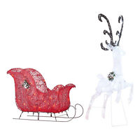 Outdoor Reindeer With Sleigh 52 in. Twinkle LED Lights Christmas Yard Decoration