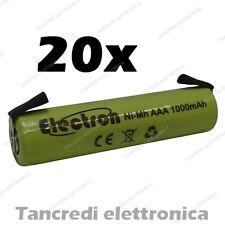 20x 1,2 v 1000 mAh ministilo AAA terminali lamelle a saldare uso generico 900mAh