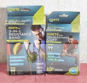 Ignite by Spri Medium Resistance Cuffs & 3-in-1 Resistance Cord Lot x2