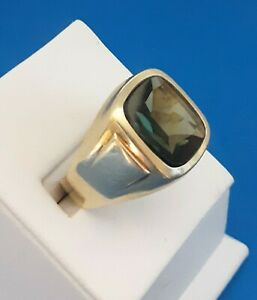 Mens 14 K & Spinel Ring.FREE 3 DAY PRIORITY SHIPPING.