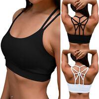 Women's Solid Padded Sports Bra Cross Back High Impact Workout Running Yoga Bra