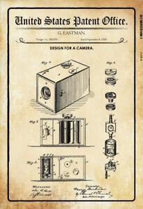 US Patent Kamera Camera 1888 Blechschild Schild Metal Tin Sign 20 x 30 cm P0117
