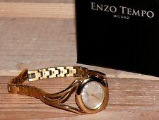 ENZO Tempo Damen Elegant Uhr Armbanduhr Titan Gold 20x glanz Steine 1763679 16cm