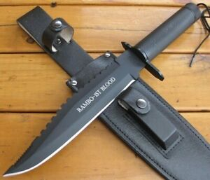 RAMBO 2 FIRST BLOOD STYLE SURVIVAL CAMPING HUNTING KNIFE + SHEATH - EXPRESS POST