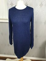 Whistles Navy Blue Sparkly Round Neck Long Sleeve Thin Knit Jumper Dress Size 10