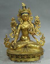 "9"" Old Tibet Buddhism Bronze 24K Gold 7 eyes White Tara Guanyin Buddha Statue"
