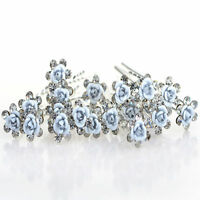20/40P Flower Wedding Hair Pins Bridesmaid Crystal Diamante Pearls Bridal Clips