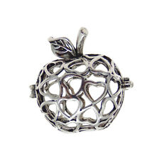 Pack of 3 Antiqued Silver Plated Hollowed Apple Shaped Pendants Lockets 31x28mm