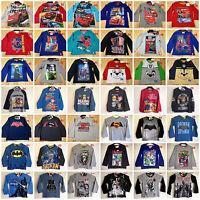 Boys Kids Disney Long Sleeve T-Shirt Top Batman Cars Paw Patrol age 2-14 years