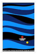 "Cuban movie Poster for Japanese film""LATITUD Cero""Japan.Ishiro Honda.Blue art."