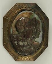 Vintage Costume Jewelry Art Deco Greco Roman Athena Metal Shell Cameo Brooch Pin