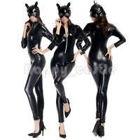 Women Halloween Fancy Dress Catwoman Costume Adult Sexy Wetlook Catsuit Bodysuit