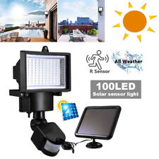 100 LED Bright Solar Powered PIR Sensor Flood Outdoor Security Light