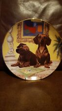 Dachshunds 'The Art Critic' Collector Plate Dog Danbury Mint Christopher Nick