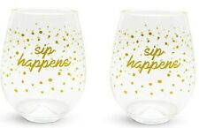 "Vera Bradley ""Sip Happens""  Stemless Wine Glass Set of 2 Acrylic - New in Box"