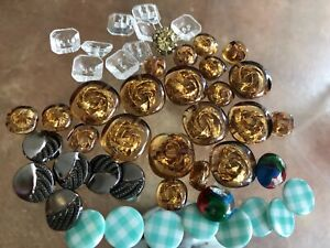 LOT OF VINTAGE GLASS BUTTONS Gold Flecks Amber Gingham 47 Mixed Marble