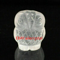 "TOP! 1.1"" Hand Carved Clear Quartz Owl Skull Natural Crystal Reiki Healing 1PC"