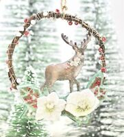 GISELA GRAHAM CHRISTMAS ROSE REINDEER IN WREATH HANGING DECORATION