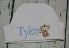 PERSONALIZED Baby Hat Monogrammed Newborn Monkey  Cap  with Name - Baby Beanie