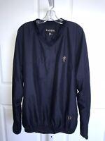 Footjoy Mens XL Navy Pullover Golf Jacket V Neck Windbreaker Long Sleeve Pocket