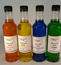 Snow Cone Syrup  4 x 375 ml Assorted Flavours  Ready To Use