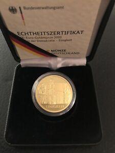 """100 Euro Goldmünze Deutschland 2020 Säulen der Demokratie """"Einigkeit"""" A Gold"""