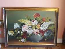 Original Oil Painting: Classic Flowers Bouquet Still Life signed Arechiga