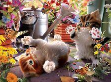 3D Lenticulaire Image Chatons chats à jeu avec Papillons taille 39 x 29 cm