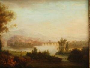FINE c1842 ARCADIAN SUNSET LANDSCAPE FIGURES & CATTLE Antique Oil Painting