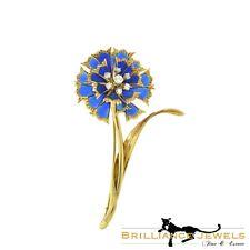 Estate Plique-à-Jour Blue Enamel and Diamond Gold Long Flower Brooch / Pin