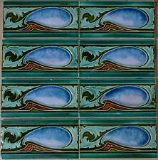 ENGLAND - ANTIQUE ART NOUVEAU MAJOLICA 8 BORDER TILES C1900