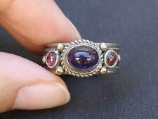Solid Adjustable Tibetan 3-color Copper Amethyst Garnet 3 Gemstone Dotted Ring