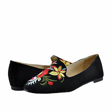 Womens Shoes Qupid Shore 03 Floral Closed Almond Toe Flat Black *New*