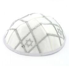 KIPPAH with Star of David Design. . . . . white satin Yarmulke Kippa Kipa Israel