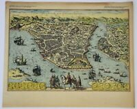 ANTIQUE OLD INSTANBUL MAP , FROM A WOODCUT by GIOVANNI ANDREA DI VAVASSORE 1520