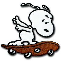 Snoopy Skateboard Patch Iron on Kids Cute Sew Peanuts Badge Pet Cartoon Puppy